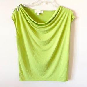 Michael Kors Lime Green Zipper Shoulder Shirt 🍀